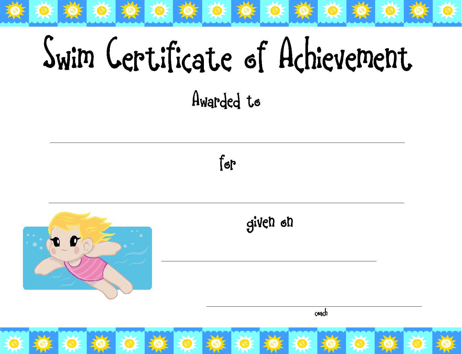 Free Printable Swimming Certificates And Swimming Awards Free